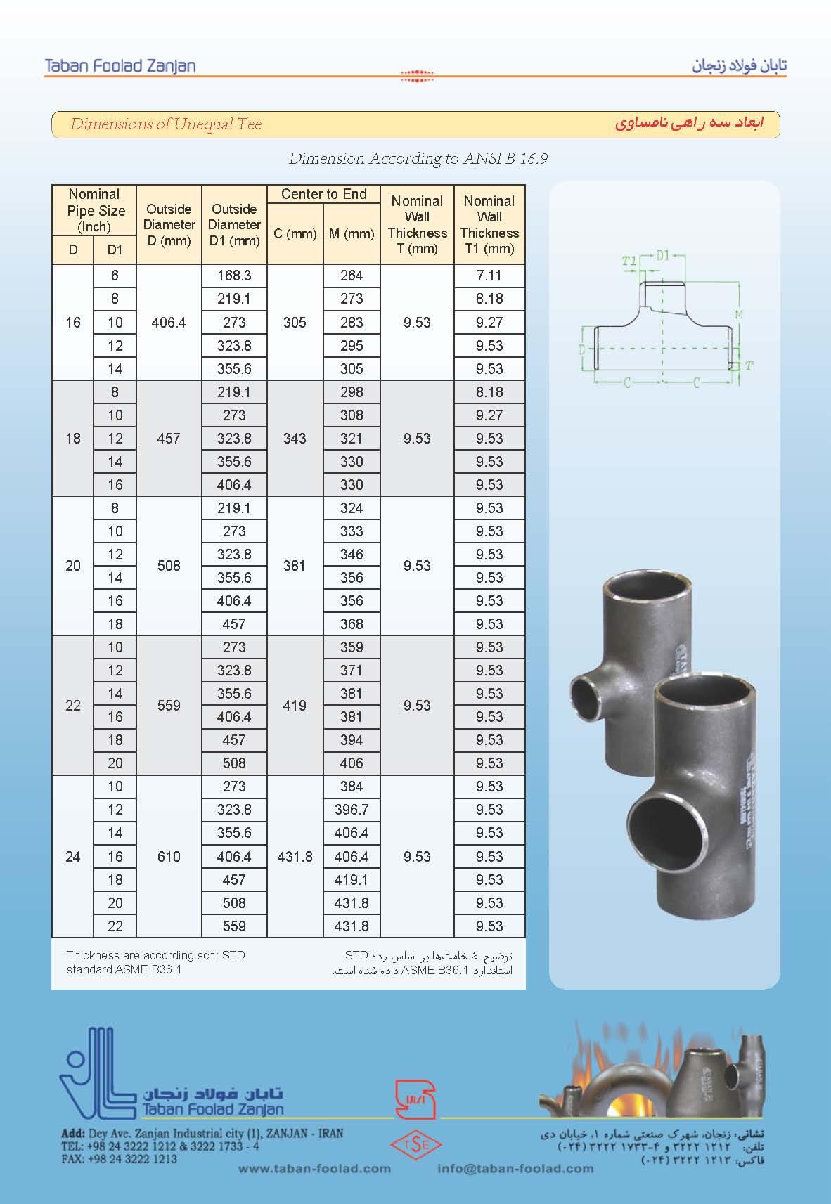 ابعاد سه راه استاندارد ASTM A234
